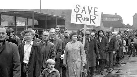 A huge march through the streets of Ipswich in support of Ransomes and Rapier took place on a wet Ju