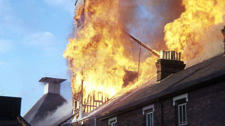Maltings 1970.Huge flames from the maltings fire threatened houses in Bulstrode Road, Ipswich. Pho
