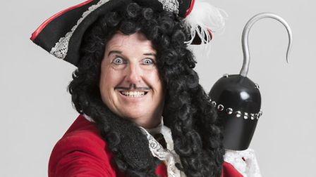 Kevin Kennedy as Captain Hook in the 2014-15 Norwich Theatre Royal panto Peter Pan.