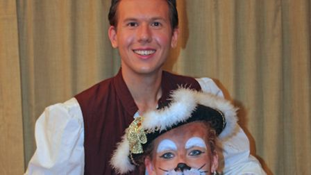 Matt Bendall (Piere) and Zoe Cole (Puss) in Puss-in-Boots, SODS 2014 pantomime at the Stowmarket Reg
