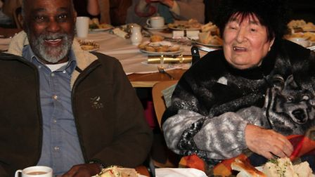 Harry and June Patten enjoy the tea St Lawrence Centre in Ipswich after christmas shopping in the to