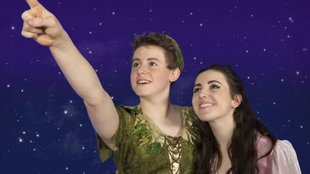Peter Pan (Karl Lankester) and Wendy Darling (Anna Watson) in The Co-op Juniors Theatre Company's Ch
