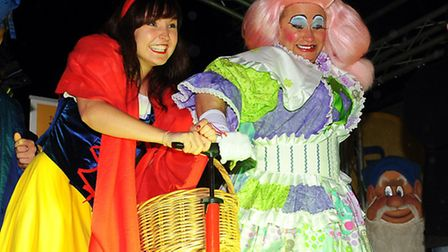 Dame Dolly Dumpling and Snow White from the Marina Theatre panto