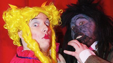 The Dame (Bryan Thurlow) and The Wolf in Sudbury Dramatric Society's panto Red Riding Hood