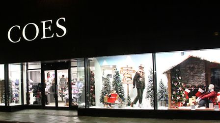 The christmas window display at Coes in Norwich Road. Photograph Simon Parker