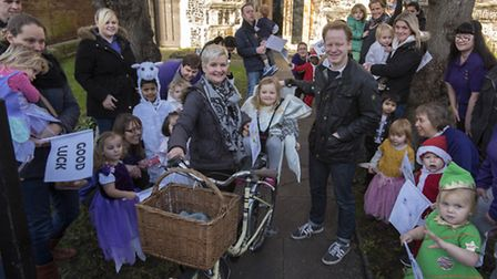 Anna is pictured here with her 3 year old daughter Agnes, Ben Gummer and children and parents from t