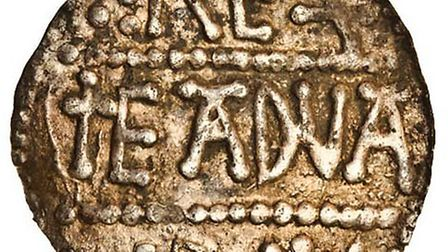 the images of both sides of the 1200 year old penny found near Eye and sold at Spink in London this