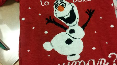 One of the Olaf jumpers seized by trading standards at Ipswich market