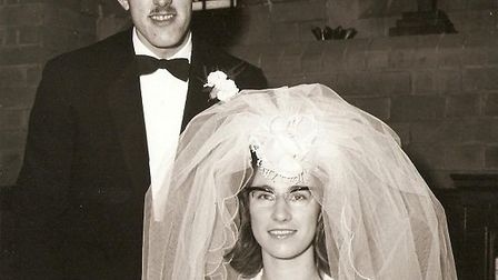 Larry and Gloria Lyons on their wedding day