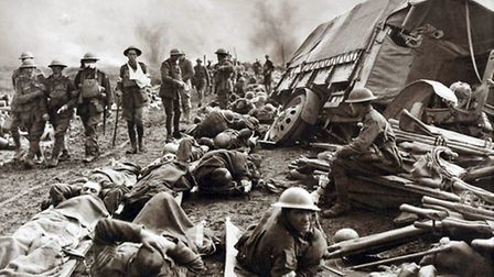 Wounded troops on the Menin Road in September, 1917. That month, Lance-Corporal William Hewitt captu