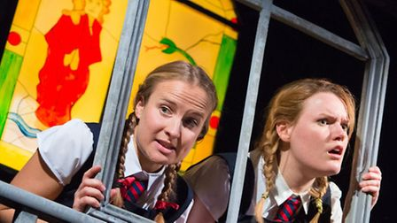 Eastern Angles' The Mystery of St Finnigan's Elbow, starring Francesca Gosling and Alice Mottram. Ph