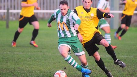 Whitton Utd v Stanway Rovers. Left to right, Chris Williams and Jake Clowsley.