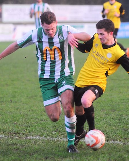 Whitton Utd v Stanway Rovers. Left to right, James Burnett and Jake Clowsley.
