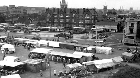 CHANGING TIMES: Ipswich bus station in the background, which was the ideal spot for a cheeky kiss wh