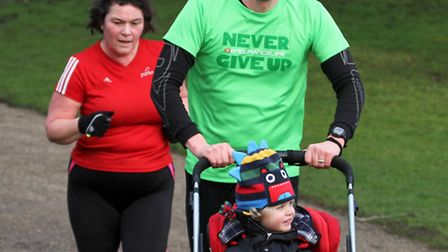 Runners take part in the Ipswich parkrun in Christchurch Park. Photograph Simon Parker