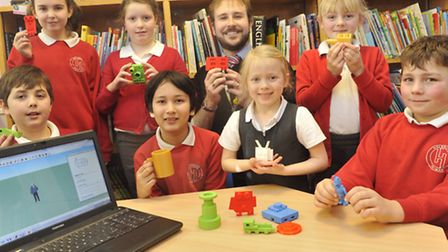 Pupils from Holbrook Primary School, with teacher Richard Williams, got to design items that were th