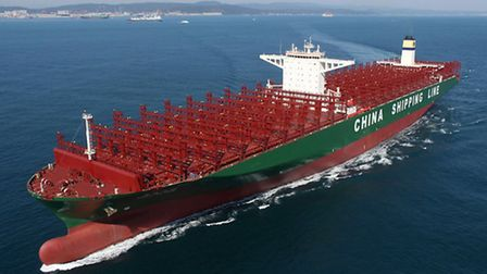 The CSCL Globe called at the Port of Felixstowe today