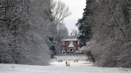 A light dusting of snow in west Suffolk. Nowton Park in Bury.