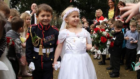 Pupils from Castle Hill Infant and Junior School take part in the fake wedding ceremony at St Mary a