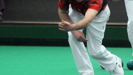 Indoor bowls tournament at Ipswich Indoor Bowling Club. Mark Royal in action.