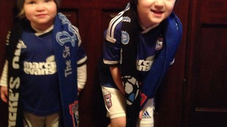 Jack, three, and Caitlyn, 22months, supporting Ipswich from home