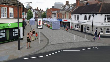 An artist's impression of the junction between Queen Street and Falcon Street in Ipswich.