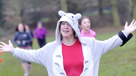 Runners don onesies during the Ipswich Parkrun's New Years Day run in Chantry Park.
