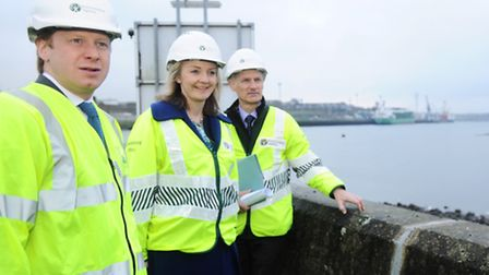 Environment Secretary Elizabeth Truss takes a look at some of the work involved in the Ipswich Flood