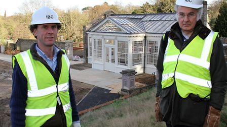 James Mellish (left) Project Manager of the Orangery restoration in Holywells Park with Chairman of