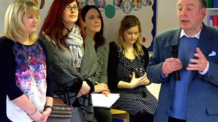 Staff members of the Dame Vera Lynn Trust School in Sproughton at the public meeting with John Aiton