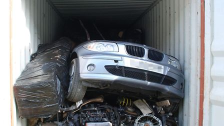 Police officers have seized hundreds of car parts at the Port of Felixstowe. Photo: Metropolitan Pol