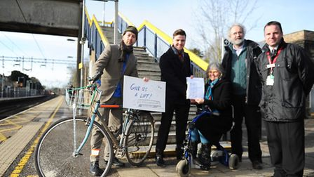 Theodore Bird, campaigner, Owen Johns of Network Rail, Elaine and Tim Richmond petitioners and Chris