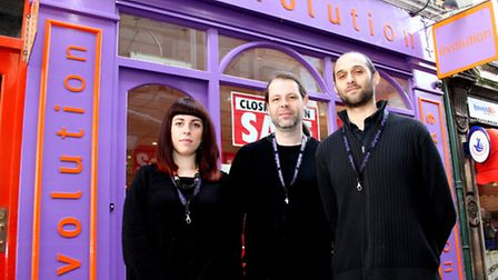 Abbie Baker (L to R) Dominic Reynolds and Buddhasiha of Evolution in The Thoroughfare in Ipswich whi