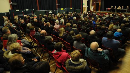 The meeting held at Claydon High School to discuss the proposed travellers' site.
