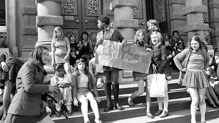 Tower Ramparts School, Ipswich pupils protesting about school uniforms on the steps of the Town Hall