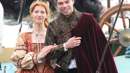 The cast of the Red Rose Chain production 'Progress' renacting the historic moment Elizabeth I first