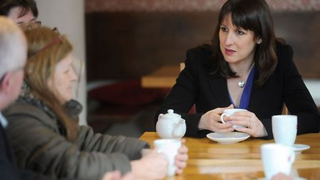 Shadow cabinet minister Rachel Reeves is at Saints coffee shop in Ipswich meeting voters.