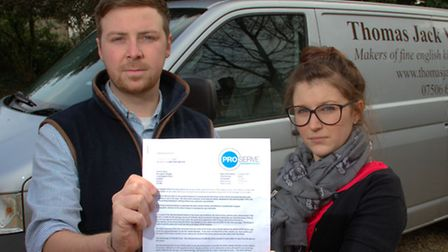 Thomas Wray and Chelsea Lydford who are un-happy about the �250 parking fine they recieved after par