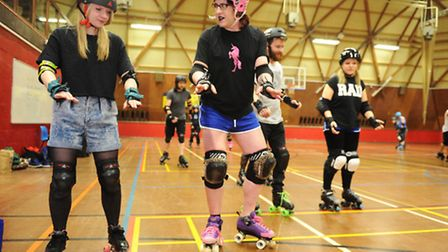 Gemma Mitchell tries her hand at Suffolk Roller Derby with the help of Joni bendall