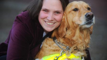 Emma Free pictured with Jazz outside the court