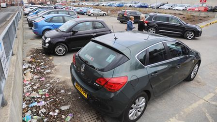 Crown car park, Charles Street, Ipswich. Car park looking messy with lots rubbish scattered around.