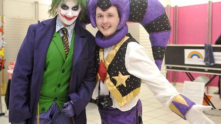 Kelly Alexander as The Joker and Paul Robert as Nights dress up during Titchy-Con in Ipswich's Butte