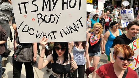 Feminist protesters during the SlutWalk protest last year