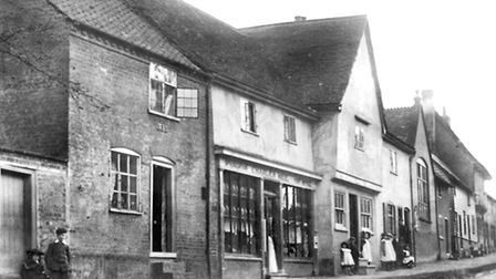 Lower Street, Sproughton in the early years of the twentieth century. The post office in the centre