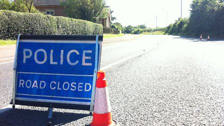 Police closed a stretch of the B1080 at Holbrook following a car crash