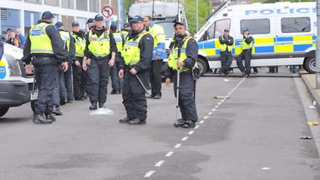Police outside Portman Road before the Ipswich v Norwich play off first leg
