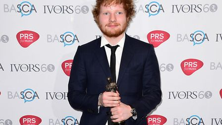 Ed Sheeran wins the Songwriter of the Year Award, at the Ivor Novello awards at the Grosvenor House