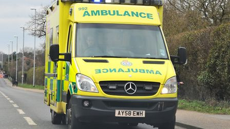 An ambulance was called to the collision in Belstead Road. Photo: Simon Finlay