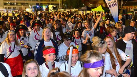 Walkers get ready to set off from Ipswich Town Football Club on the St Elizabeth Hospice Midnight Wa