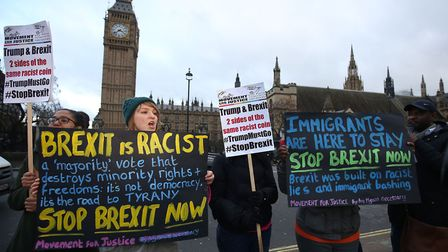 Anti Brexit demonstrators protest outside the Houses of Parliament